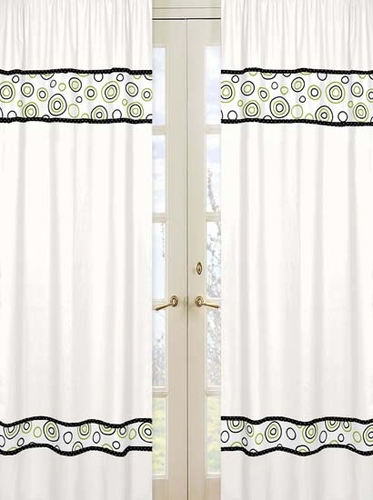 Spirodot Lime and Black Window Treatment Panels by Sweet Jojo Designs - Set of 2 - Click to enlarge