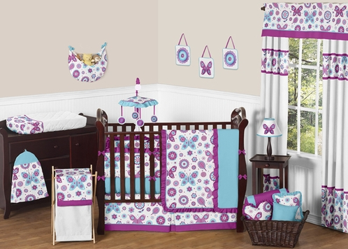 Spring Garden Baby Bedding - 9pc Crib Set by Sweet Jojo Designs - Click to enlarge