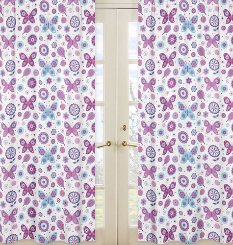 Spring Garden Print Window Treatment Panels by Sweet Jojo Designs - Set of 2 - Click to enlarge