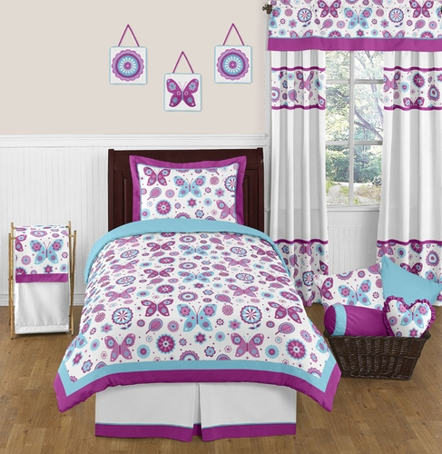 Spring Garden Childrens and Kids Bedding - 4pc Twin Set by Sweet Jojo Designs - Click to enlarge