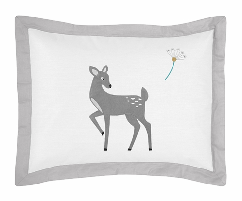 Standard Pillow Sham for Forest Deer and Dandelion Bedding by Sweet Jojo Designs - Click to enlarge