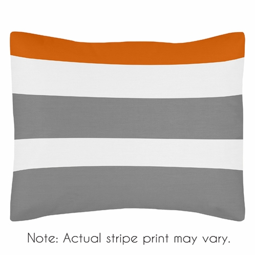 Standard Pillow Sham for Gray and Orange Stripe Bedding by Sweet Jojo Designs - Click to enlarge