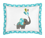 Standard Pillow Sham for Mod Elephant Bedding by Sweet Jojo Designs