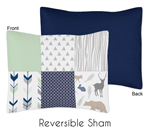 Standard Pillow Sham for Navy, Mint and Grey Woodsy Bedding by Sweet Jojo Designs