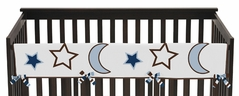 Starry Night Stars and Moons Baby Crib Long Rail Guard Cover by Sweet Jojo Designs