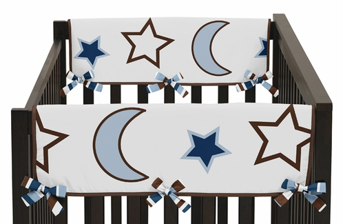 Starry Night Stars and Moons Baby Crib Side Rail Guard Covers by Sweet Jojo Designs - Set of 2 - Click to enlarge