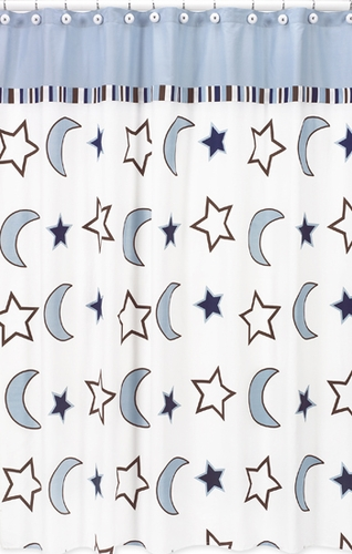 Starry Night Stars and Moons Kids Bathroom Fabric Bath Shower Curtain - Click to enlarge