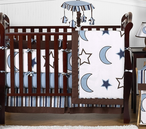 Stars and Moons Baby Bedding - 9pc Crib Set by Sweet Jojo Designs - Click to enlarge