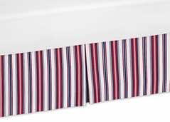 Stripe Crib Bed Skirt for Nautical Nights Bedding Sets