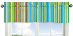 Stripe Print Window Valance for Turquoise and Lime Layla Collection