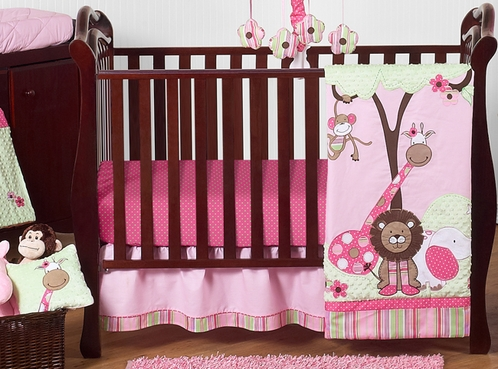 1a8f1a64653c Pink and Green Girls Jungle Baby Bedding - 11pc Crib Set - Click to enlarge