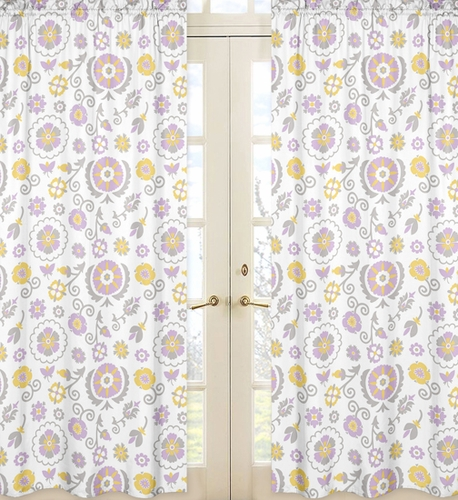 Suzanna Floral Print Window Treatment Panels by Sweet Jojo Designs - Set of 2 - Click to enlarge
