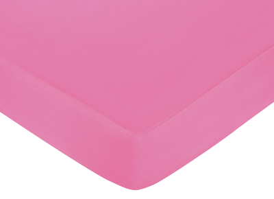 Sweet Jojo Designs Surf Fitted Crib Sheet for Baby/Toddler Bedding Sets - Solid Pink - Click to enlarge