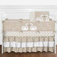 Tan and White Elegant Woodland Swan Baby Girl Crib Bedding Set with Bumper by Sweet Jojo Designs - 9 pieces
