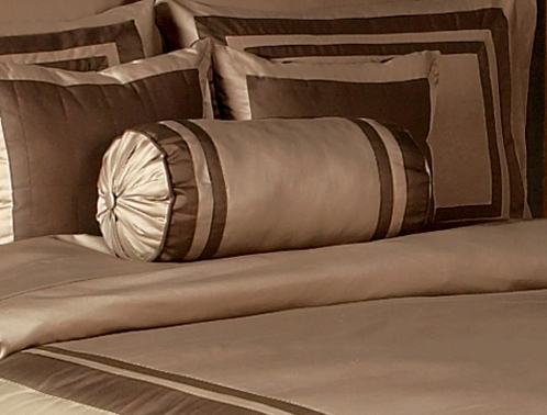 Taupe and Chocolate Hotel Spa Collection Neckroll Bolster Pillow - Click to enlarge