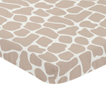 Taupe and Off-White Baby Fitted Mini Portable Crib Sheet for Giraffe Collection by Sweet Jojo Designs