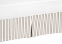 Taupe and Off-White Stripe Crib Bed Skirt for Little Lamb�Baby Bedding Sets by Sweet Jojo Designs