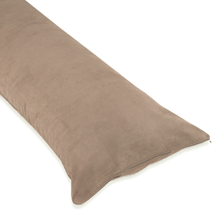Taupe Full Length Microsuede Double Zippered Body Pillow Case Cover by Sweet Jojo Designs - Click to enlarge
