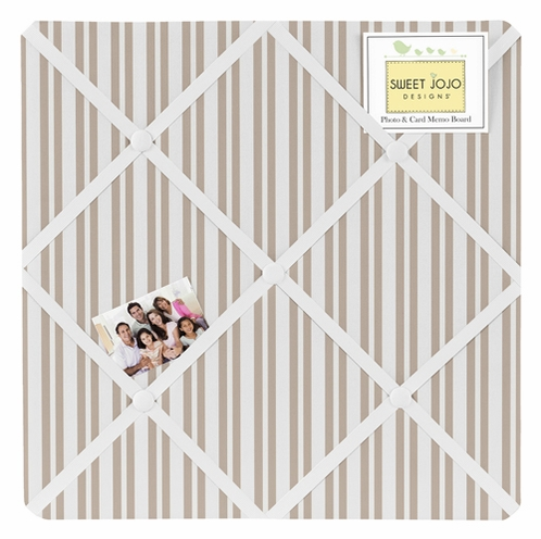Taupe Stripe Fabric Memory/Memo Photo Bulletin Board for Giraffe Collection by Sweet Jojo Designs - Click to enlarge
