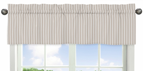 Taupe Stripe Window Valance for Little Lamb Collection by Sweet Jojo Designs - Click to enlarge