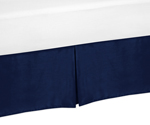 Toddler Bed Skirt for Navy Blue and Orange Stripe Kids Childrens Bedding Sets