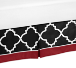 Toddler Bed Skirt for Red and Black Trellis Kids Childrens Bedding Sets