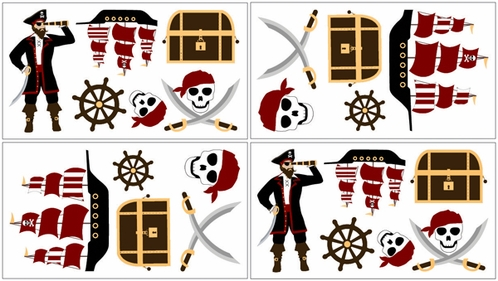 Treasure Cove Pirate Baby and Kids Wall Decal Stickers - Set of 4 Sheets - Click to enlarge