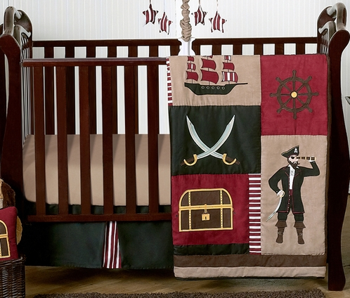 Treasure Cove Pirate Baby Bedding - 4pc Crib Set - Click to enlarge