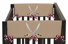Treasure Cove Pirate Baby Crib Side Rail Guard Covers by Sweet Jojo Designs - Set of 2