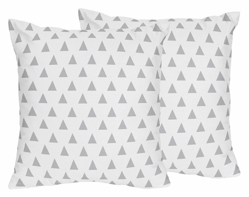 Triangle Print Decorative Accent Throw Pillows for Grey, Coral and Mint Woodland Arrow Bedding by Sweet Jojo Designs - Set of 2 - Click to enlarge