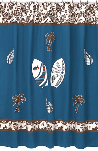 Tropical Hawaiian Kids Bathroom Fabric Bath Surfboard Shower Curtain - Click to enlarge