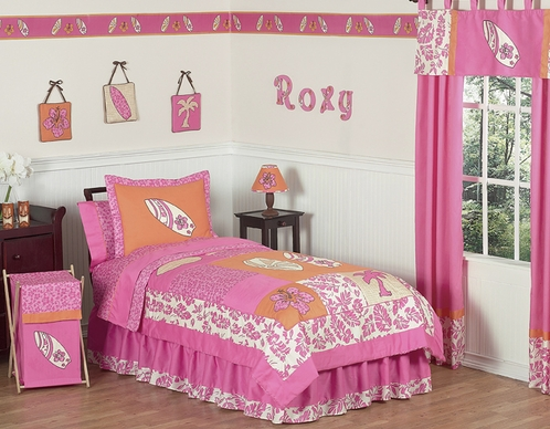 Tropical Hawaiian Kids Bedding - 4pc Girls Surf Twin Set - Click to enlarge