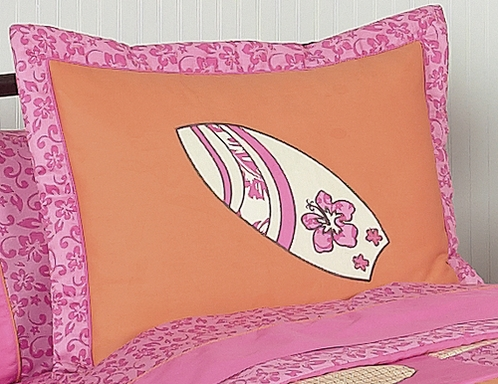 Tropical Hawaiian Pillow Sham for Surf Bedding by Sweet Jojo Designs - Click to enlarge