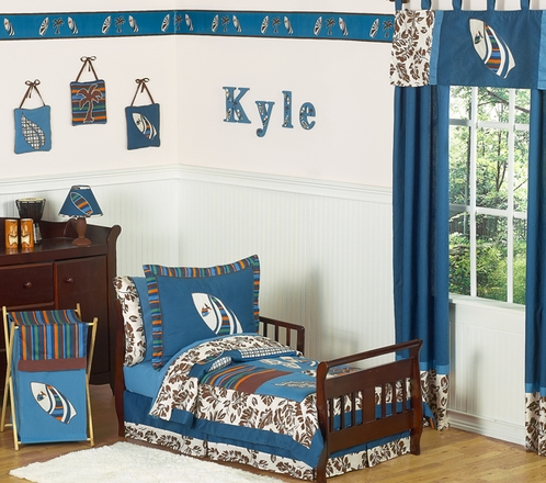 Tropical Hawaiian Toddler Bedding - 5pc Boys Surf Bedding Set - Click to enlarge