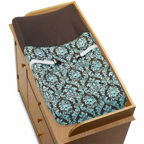 Turquoise and Brown Bella Baby Changing Pad Cover by Sweet Jojo Designs - Click to enlarge