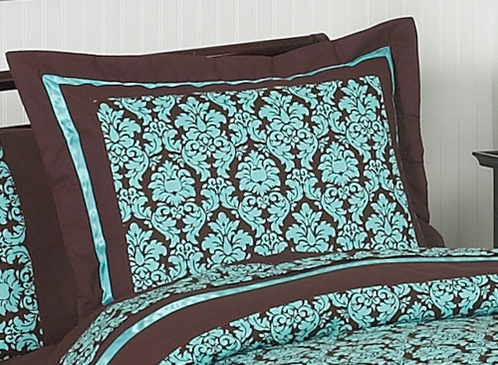 Turquoise and Brown Bella Pillow Sham - Click to enlarge