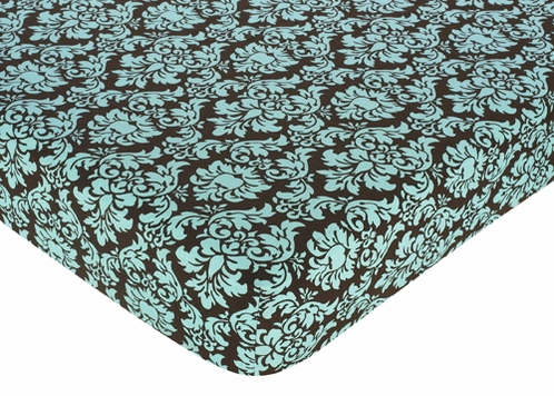 Turquoise and Brown Bella Fitted Crib Sheet for Baby and Toddler Bedding Sets by Sweet Jojo Designs - Damask Print - Click to enlarge