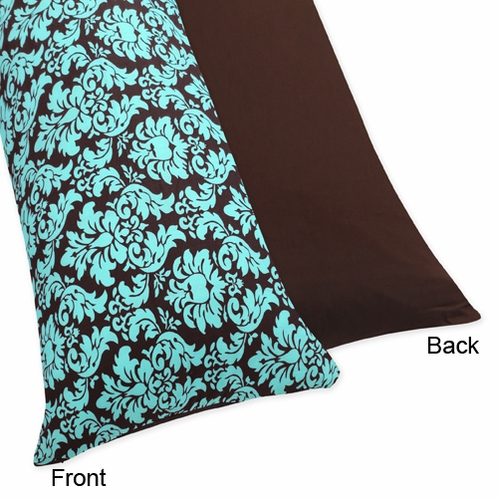 Turquoise and Brown Bella Full Length Double Zippered Body Pillow Case Cover by Sweet Jojo Designs - Click to enlarge