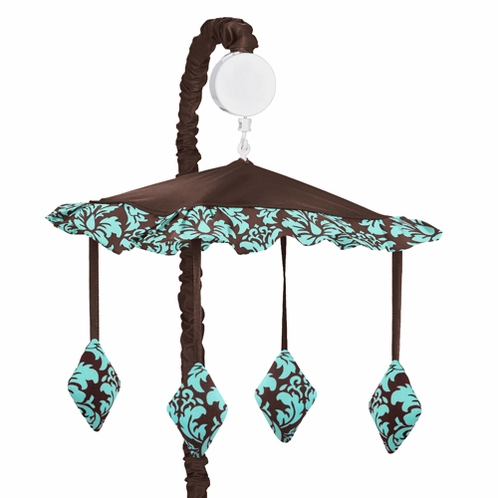 Turquoise and Brown Bella Musical Baby Crib Mobile by Sweet Jojo Designs - Click to enlarge