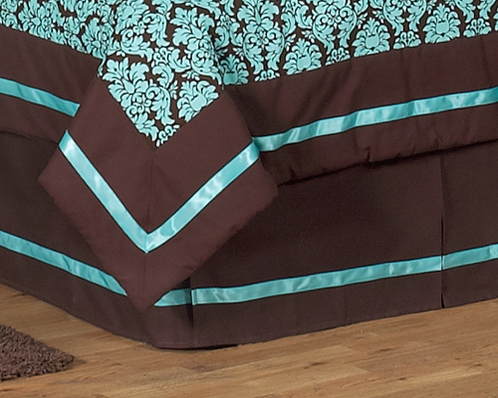 Turquoise and Brown Bella Queen Kids Children's Bed Skirt by Sweet Jojo Designs - Click to enlarge