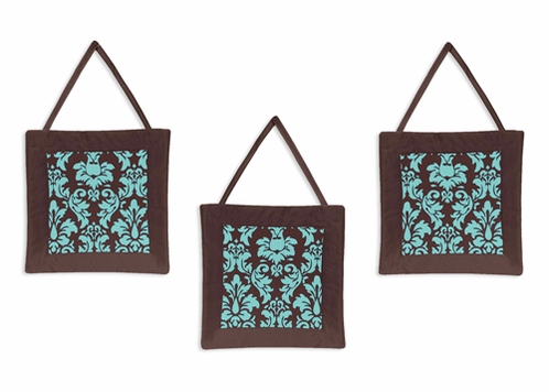 Turquoise and Brown Bella Wall Hanging Accessories by Sweet Jojo Designs - Click to enlarge