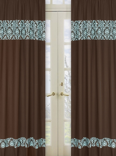Turquoise and Brown Bella Window Treatment Panels - Set of 2 - Click to enlarge