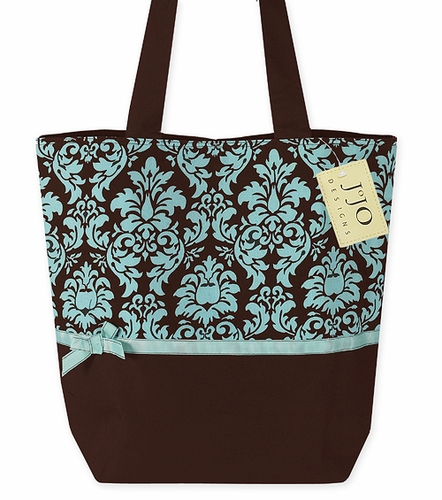 Turquoise and Brown Damask Print Handbag (Great for Diaper Bag, Tote Bag, Purse or Beach Bag) - Click to enlarge