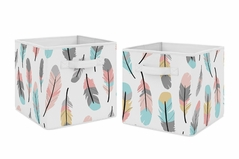 Turquoise and Coral Boho Feather Foldable Fabric Storage Cube Bins Boxes Organizer Toys Kids Baby Childrens for Collection by Sweet Jojo Designs - Set of 2