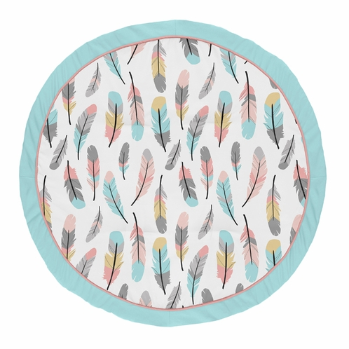 Turquoise and Coral Boho Playmat Tummy Time Baby and Infant Play Mat for Feather Collection by Sweet Jojo Designs - Click to enlarge