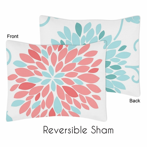 Turquoise and Coral Emma Girls Pillow Sham by Sweet Jojo Designs - Click to enlarge