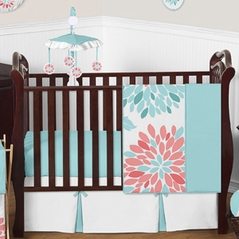 Turquoise and Coral Emma Baby Bedding - 4pc Girls Crib Set by Sweet Jojo Designs