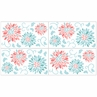 Turquoise and Coral Emma Baby, Childrens and Kids Wall Decal Stickers - Set of 4 Sheets