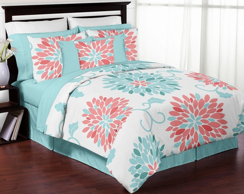 Turquoise and Coral Emma 3pc Girls Teen Full / Queen ...