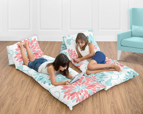 Turquoise and Coral Emma Collection Kids Teen Floor Pillow Case Lounger Cushion Cover by Sweet Jojo Designs - Click to enlarge